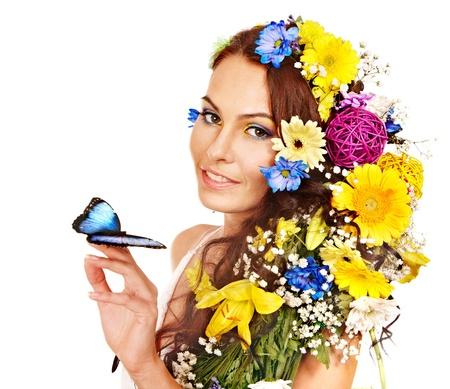 morpho menelaus: Mujer con la flor y la mariposa. Aislado. Foto de archivo