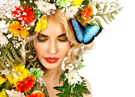 Face of woman with make up and butterfly. Isolated. Stock Photo - 18281786