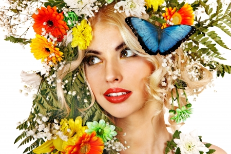 Face of woman with make up and butterfly. Isolated. Stock Photo - 18282011
