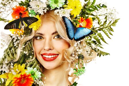 Face of woman with make up and butterfly. Isolated. Stock Photo - 18281947