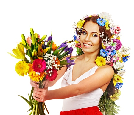 Woman with  flower bouquet . Isolated. photo