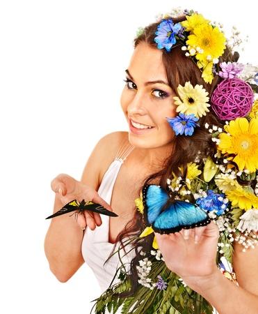 morpho menelaus: Mujer con los flor y la mariposa. Aislado. Foto de archivo