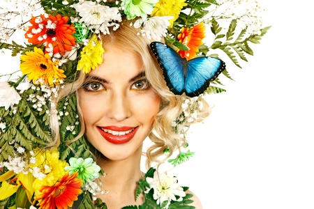 morpho: Face of woman with make up and butterfly. Isolated.