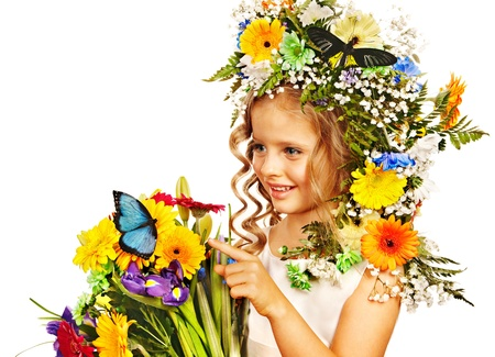 Child with flower and butterfly . Isolated. photo