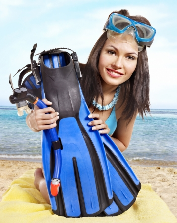 underwater diving: Girl wearing diving gear.  Isolated.