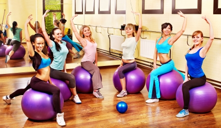 Women group in aerobics class. photo