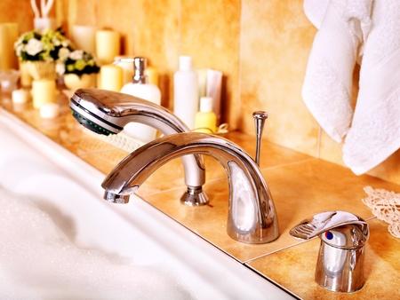 take a bath: Home bathroom interior with bubble bath.