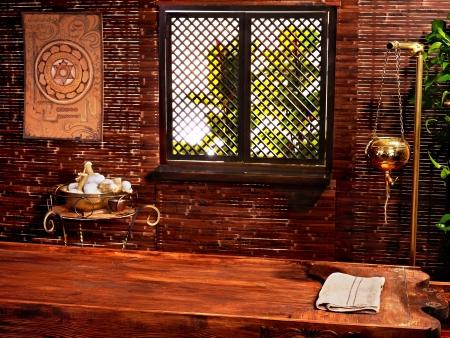window treatments: Interior of hindu ayurveda massage spa. Stock Photo