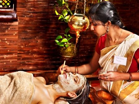 Woman having facial mask at ayurveda spa. Stock Photo - 18664807