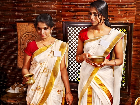 panchakarma: Hindu woman in ayurveda  spa treatment.