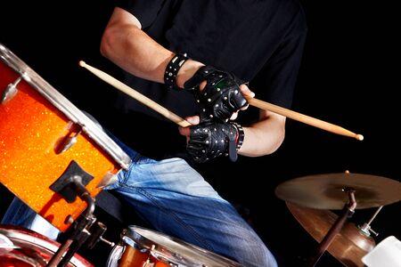 Man playing  drum in night club. Stock Photo - 18795171