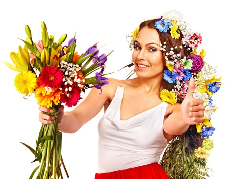 Woman with  flower bouquet thumb up . Isolated. Stock Photo - 18810834