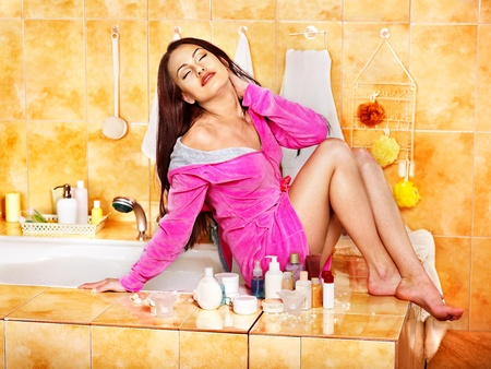 Woman relaxing at home luxury bath. photo