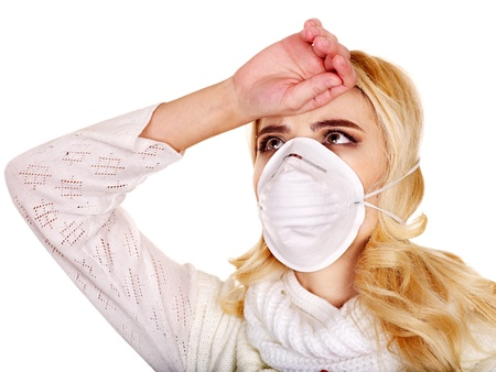 Sick young woman in medical mask. photo
