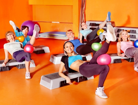 exercise room: Women group in aerobics class.
