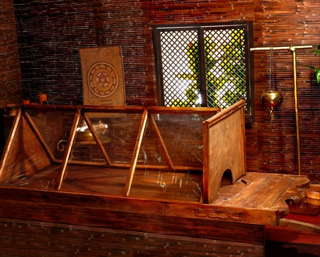 Interior of hindu ayurveda massage sauna. photo