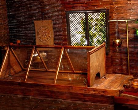 panchakarma: Interior of hindu ayurveda massage sauna.