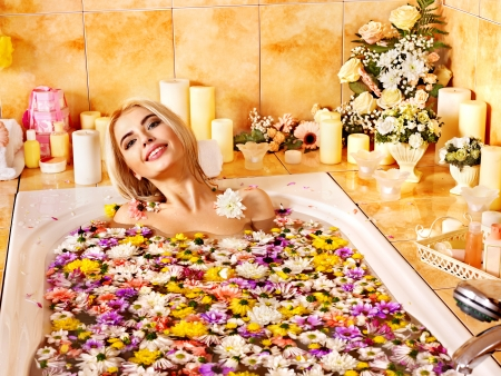 parlour: Woman relaxing at water spa.