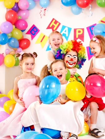 birthday party kids: Child happy birthday party .