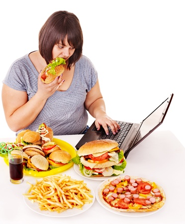 Woman eating fast food at social network. Isolated. photo