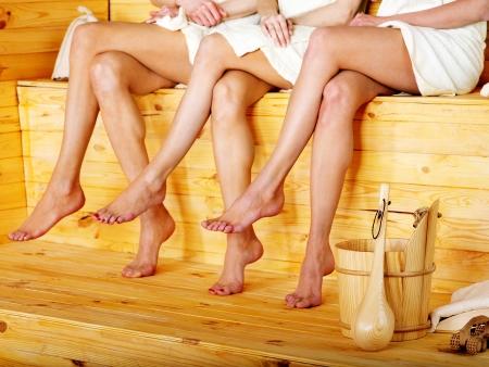 sauna: Young woman in sauna. Stock Photo
