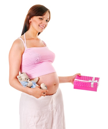 enceinte: Pregnant woman with shopping bag.  Isolated. Stock Photo
