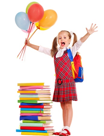 primary colours: Child with book holding balloon. Isolated on white.