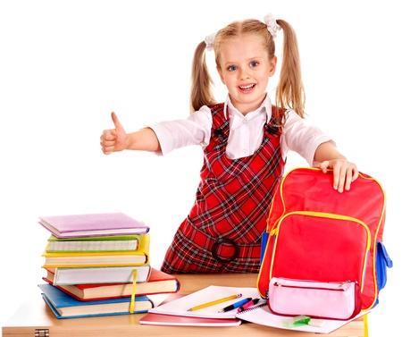 utiles escolares: Ni?o con ?tiles escolares y libros. Aislado.