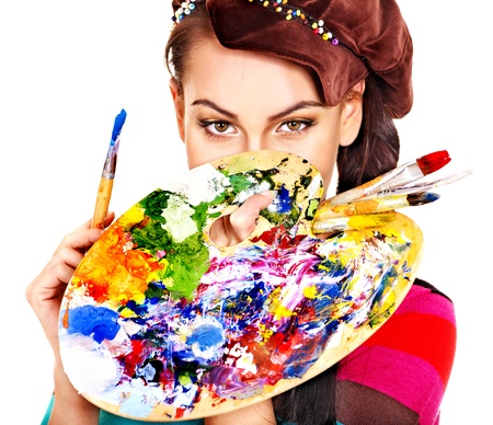 creativity artist: Face of artist woman with paint palette. Isolated.