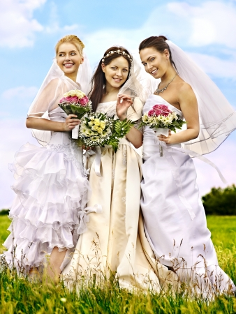 Happy group bride  wedding summer outdoor. Stock Photo - 20654251