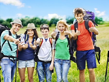 Group people with backpack  summer outdoor. photo