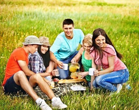 Group people on picnic. Outdoor. photo