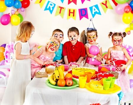 Group of children happy birthday party . photo