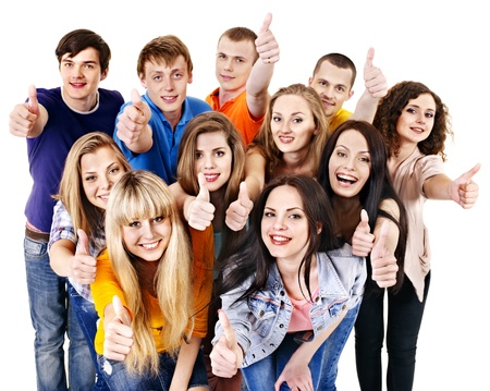 multinational: Happy group young people.  Isolated.