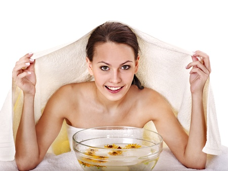 Facial massage with steam treatment. Stock Photo - 21173295