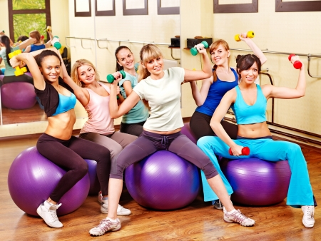 step fitness: Women group in aerobics class.