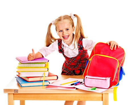 Child with school supplies and book. Isolated.