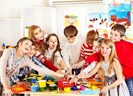kids club: Child painting at art school. Education. Stock Photo