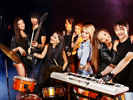 Musical group male and female  performance in night club. Stock Photo - 21574351
