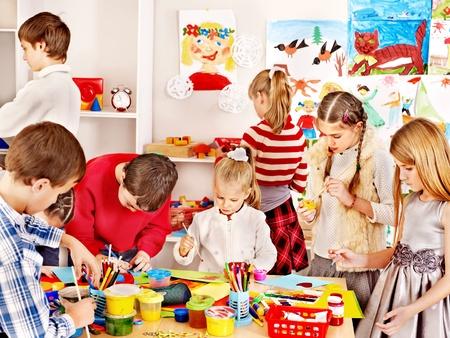 playschool: Child painting at art school. Education. Stock Photo