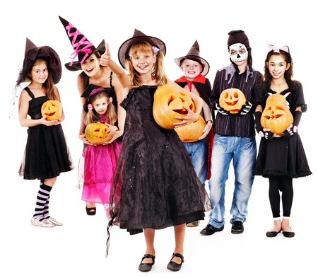 children party: Halloween party with group children holding carving pumpkin. Isolated.