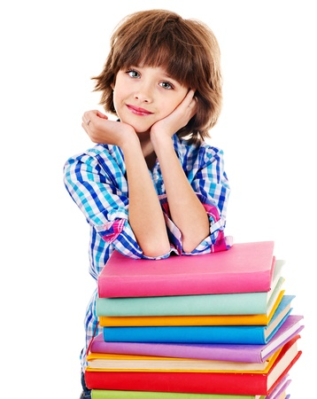 Child with stack of books. Isolated. photo