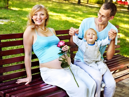 enceinte: Pregnant woman  outdoor in park.