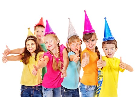 Group of teen people in party hat. Isolated. Imagens
