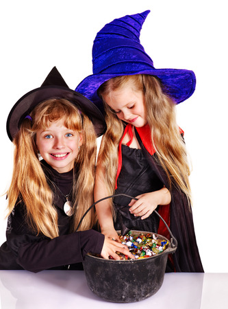 Witch children with trick or treat  Halloween  photo