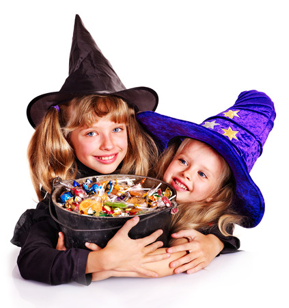 Witch children with trick or treat  Halloween  Stock Photo