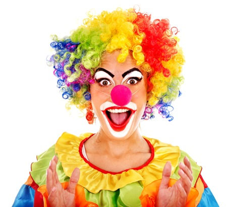 Portrait of clown with makeup.