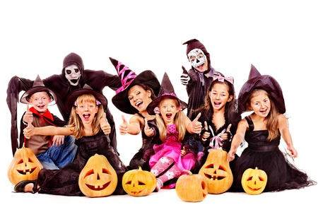 Halloween party with group children holding carving pumpkin. Isolated.. Stock Photo