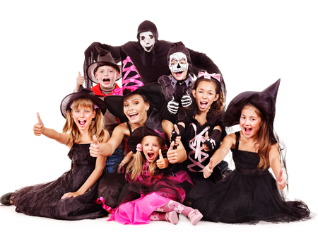 Halloween party with group children. Isolated. Stock Photo