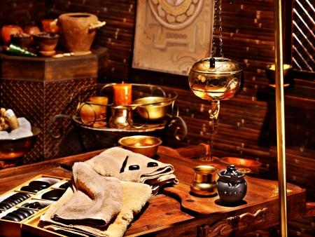 herbal remedy: Couple  having oil Ayurveda spa treatment. Stock Photo